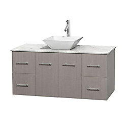 Wyndham Collection Centra 48-inch W 4-Drawer 2-Door Wall Mounted Vanity in Grey With Marble Top in White
