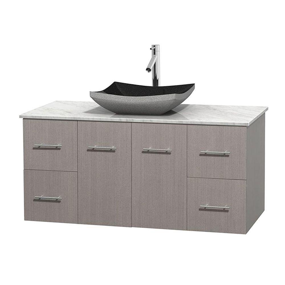 Meuble simple Centra 48 po. chêne gris, comptoir blanc Carrare, lavabo granit noir, sans miroir