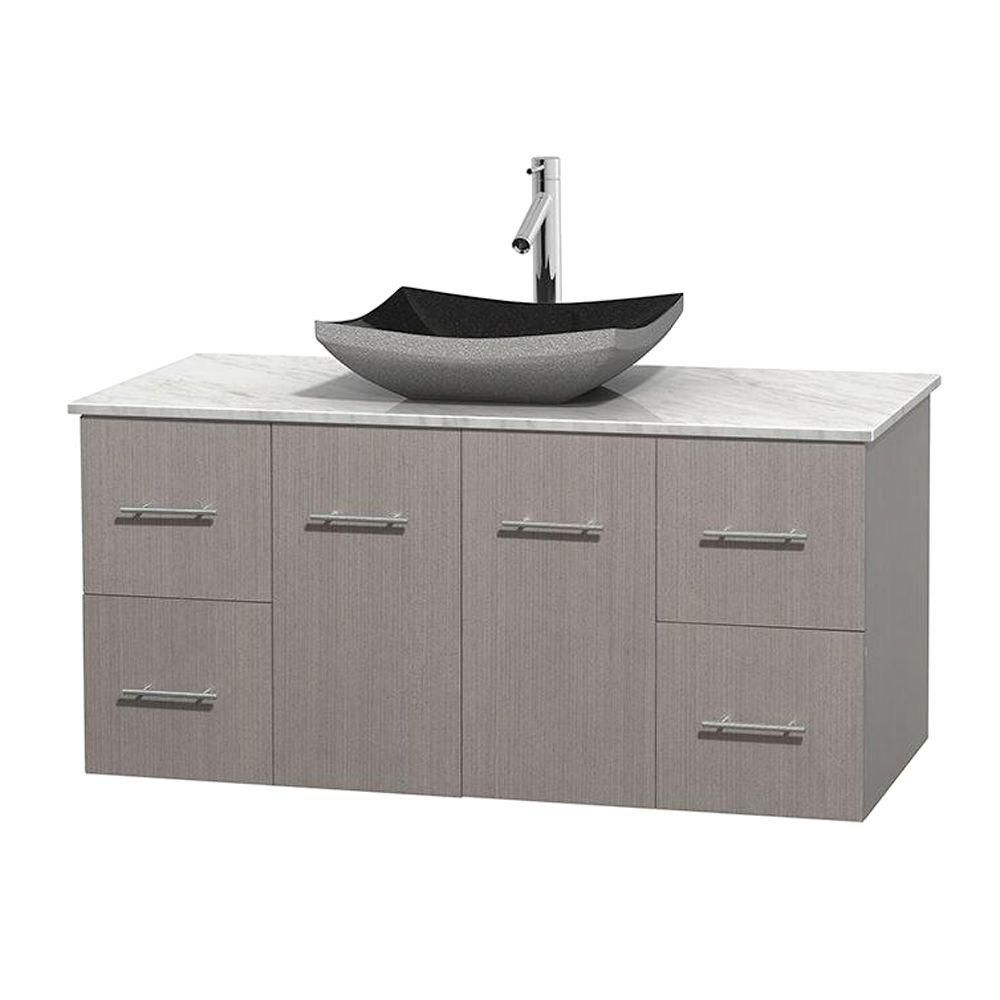 Centra 48-inch W Vanity in Grey Oak with White Top with Black Basin