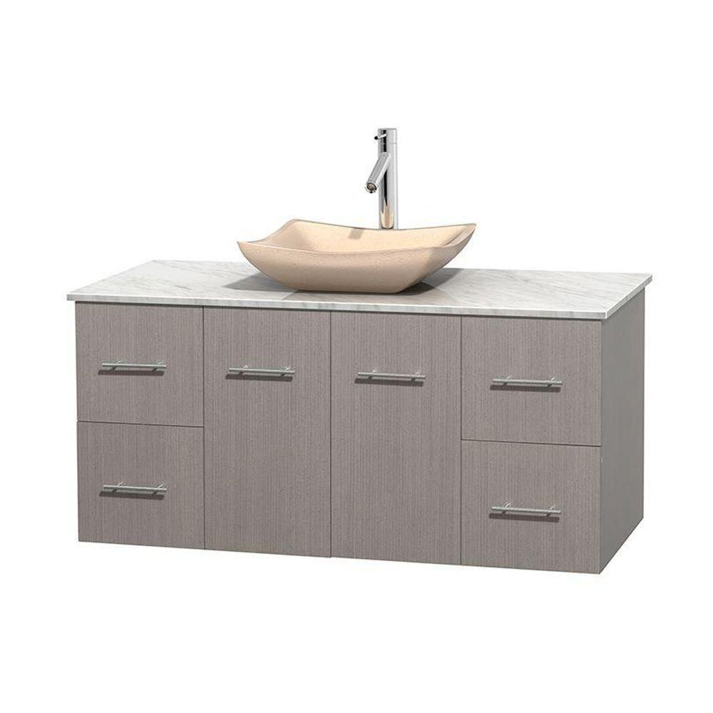 Centra 48-inch W Vanity in Grey Oak with White Top with Ivory Basin