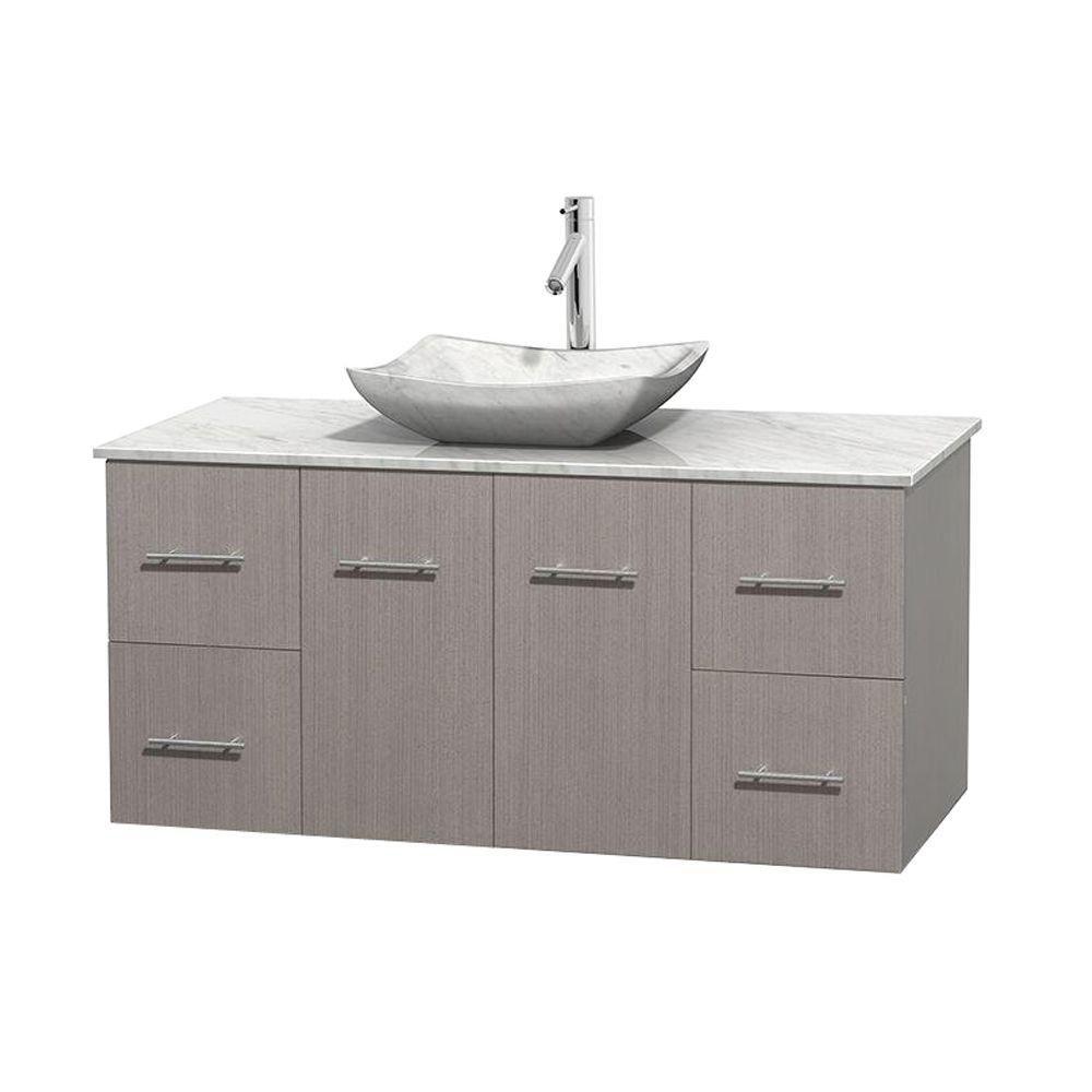 Meuble simple Centra 48 po. chêne gris, comptoir blanc Carrare, lavabo blanc Carrare, sans miroir