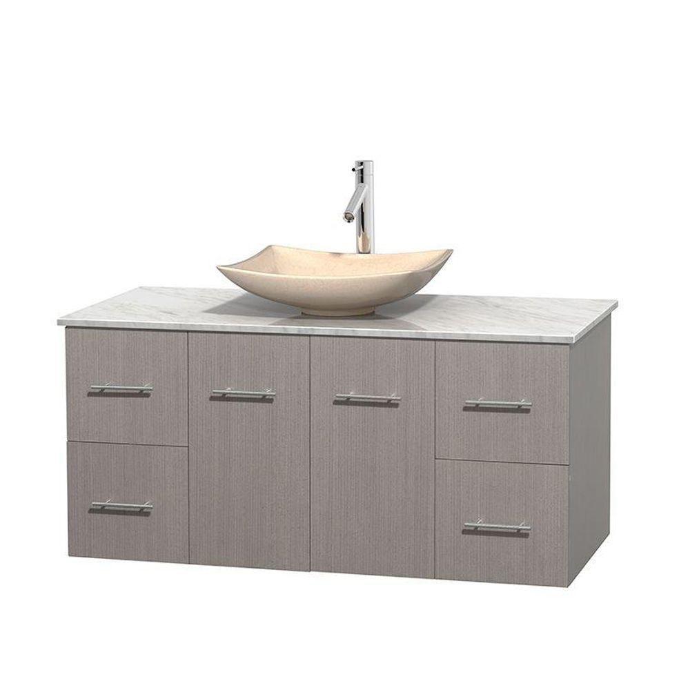 Meuble simple Centra 48 po. chêne gris, comptoir blanc Carrare, lavabo ivoire, sans miroir