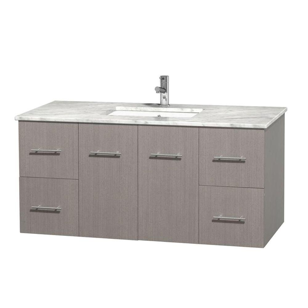 Centra 48-inch W Vanity in Grey Oak with White Top with Square Basin