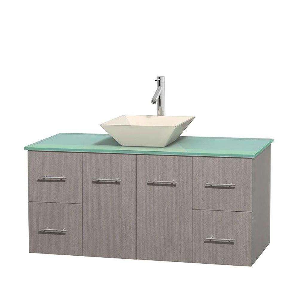 Centra 48-inch W Vanity in Grey Oak with Glass Top with Bone Basin