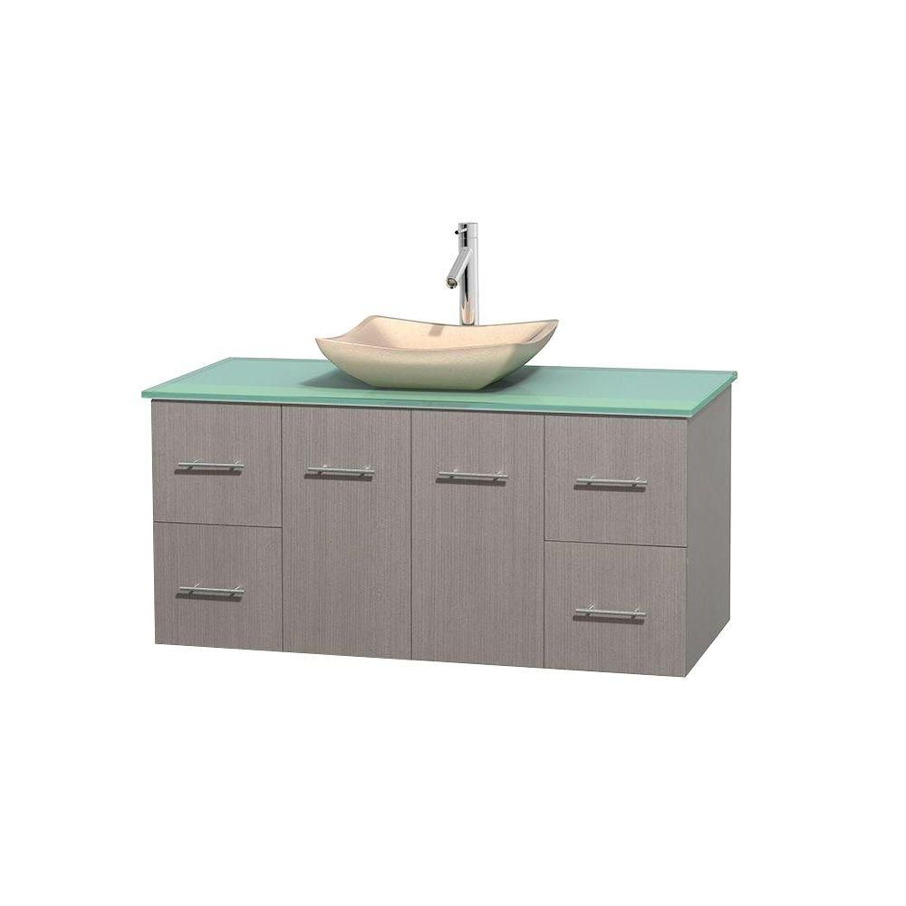 Centra 48-inch W Vanity in Grey Oak with Glass Top with Ivory Basin