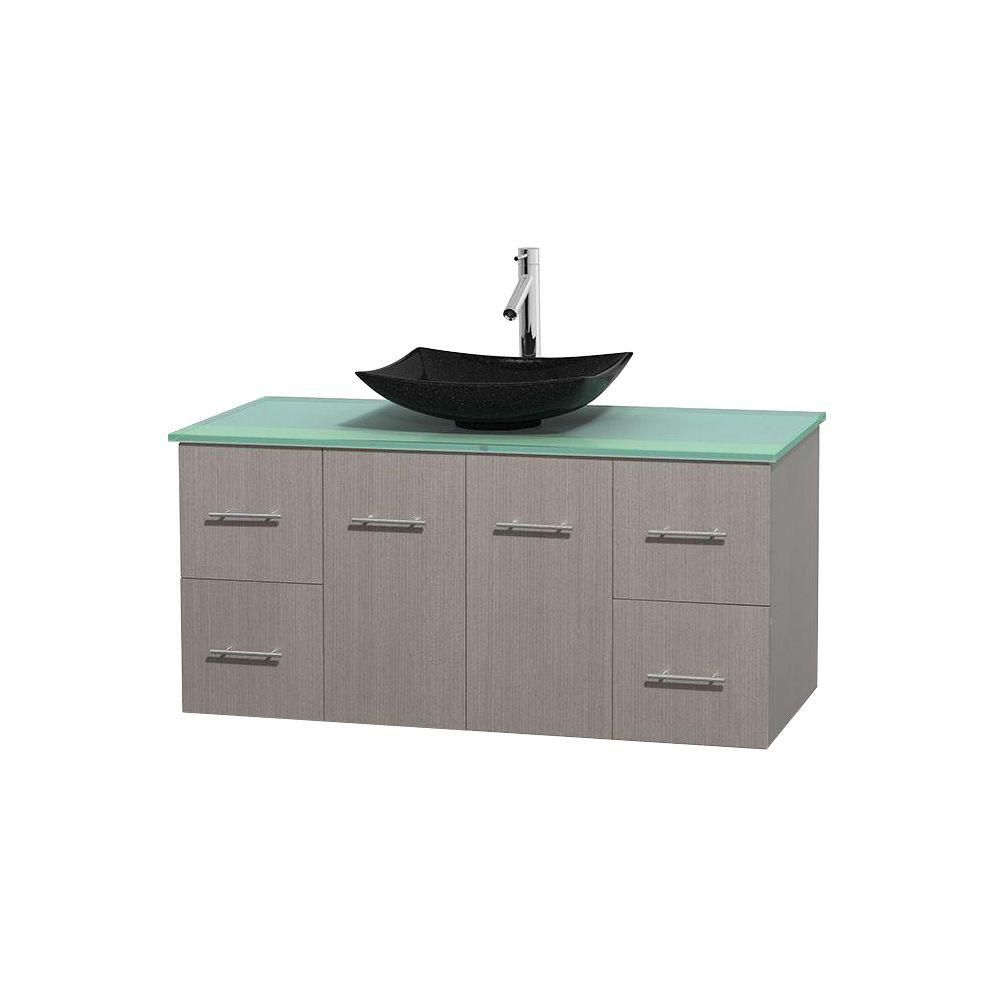 Centra 48-inch W Vanity in Grey Oak with Glass Top with Black Basin