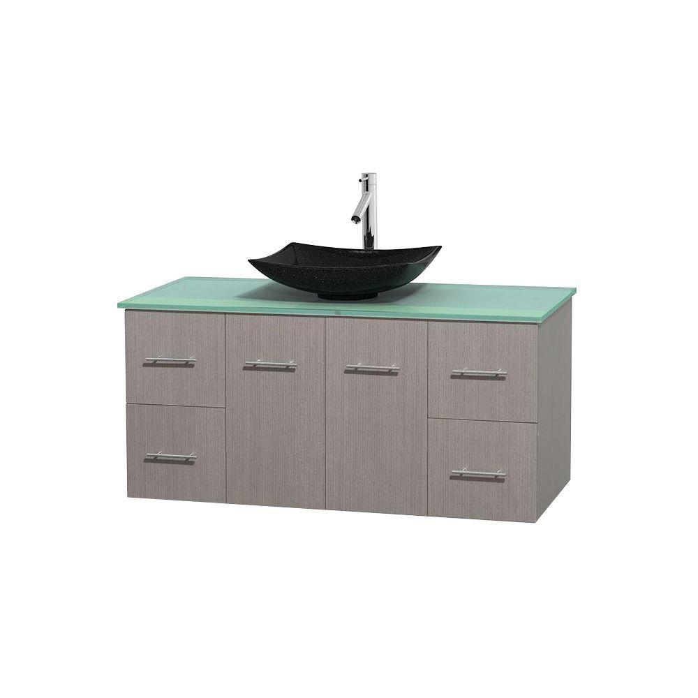 Meuble simple Centra 48 po. chêne gris, comptoir verre vert, lavabo granit noir, sans miroir