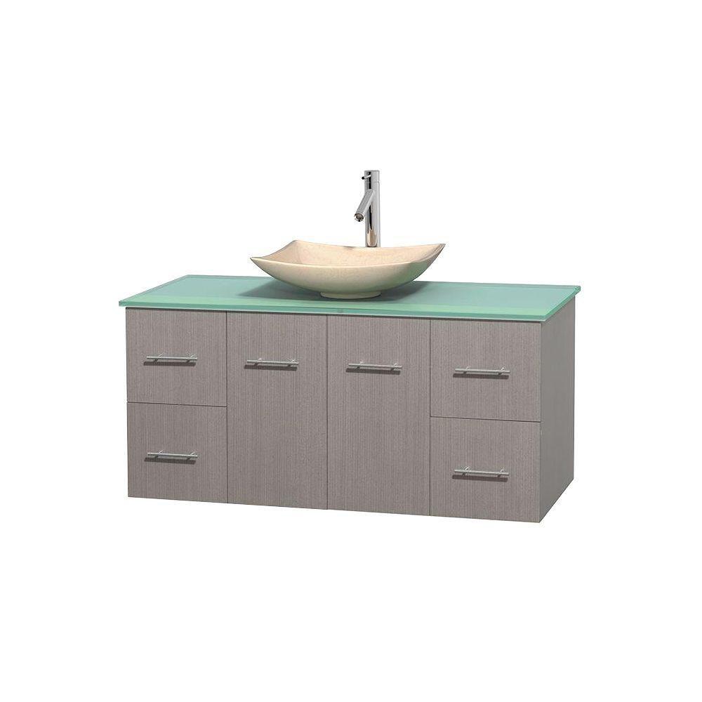 Meuble simple Centra 48 po. chêne gris, comptoir verre vert, lavabo ivoire, sans miroir