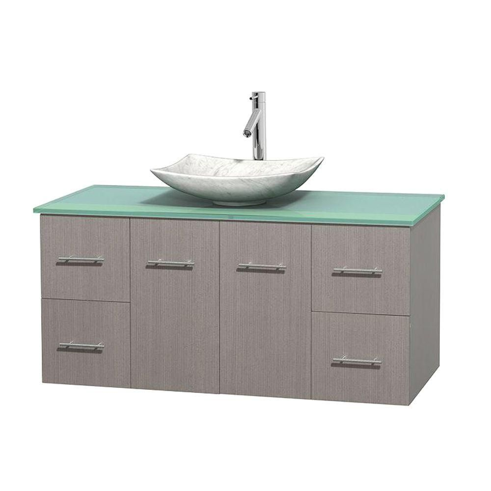 Centra 48-inch W Vanity in Grey Oak with Glass Top with White Basin