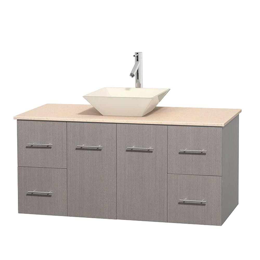 Centra 48-inch W Vanity in Grey Oak with Marble Top in Ivory with Bone Basin