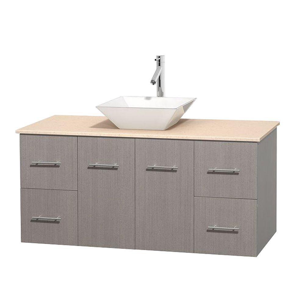 Meuble unique Centra 48 po. chêne gris, comptoir marbre ivoire, lavabo porcelaine blanche sans mi...