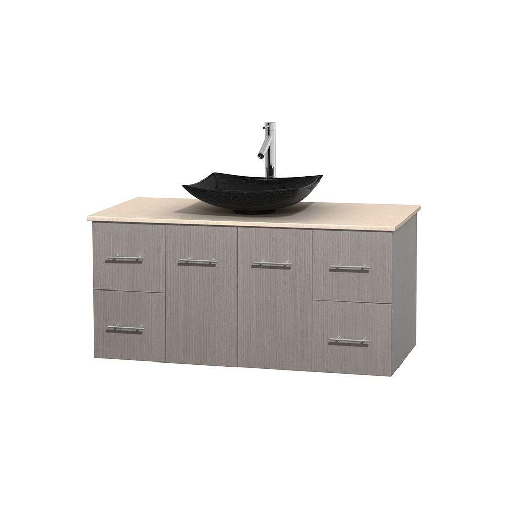 Centra 48-inch W Vanity in Grey Oak with Marble Top in Ivory with Black Basin