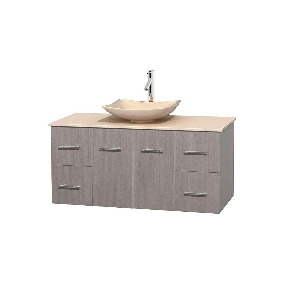 Centra 48-inch W Vanity in Grey Oak with Marble Top in Ivory with Ivory Basin
