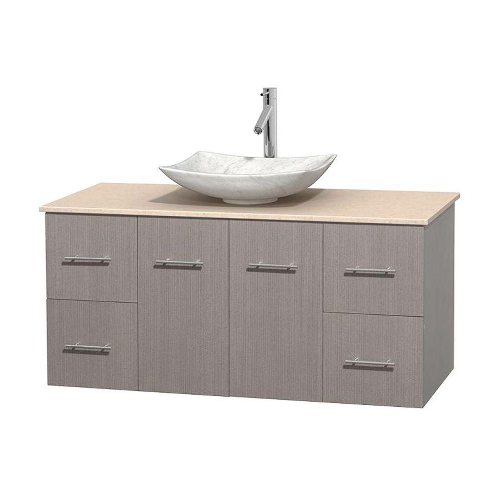 Meuble simple Centra 48 po. chêne gris, comptoir marbre ivoire, lavabo blanc Carrare, sans miroir