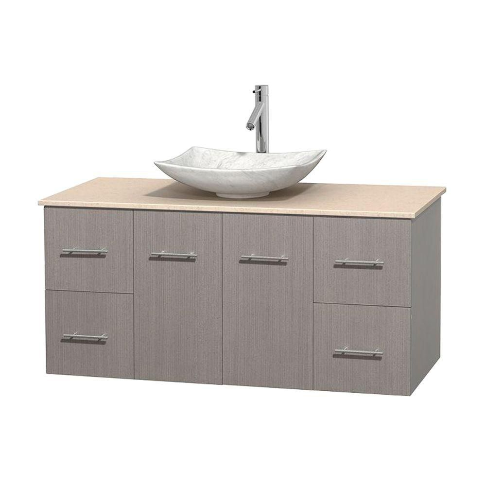 Centra 48-inch W Vanity in Grey Oak with Marble Top in Ivory with White Basin