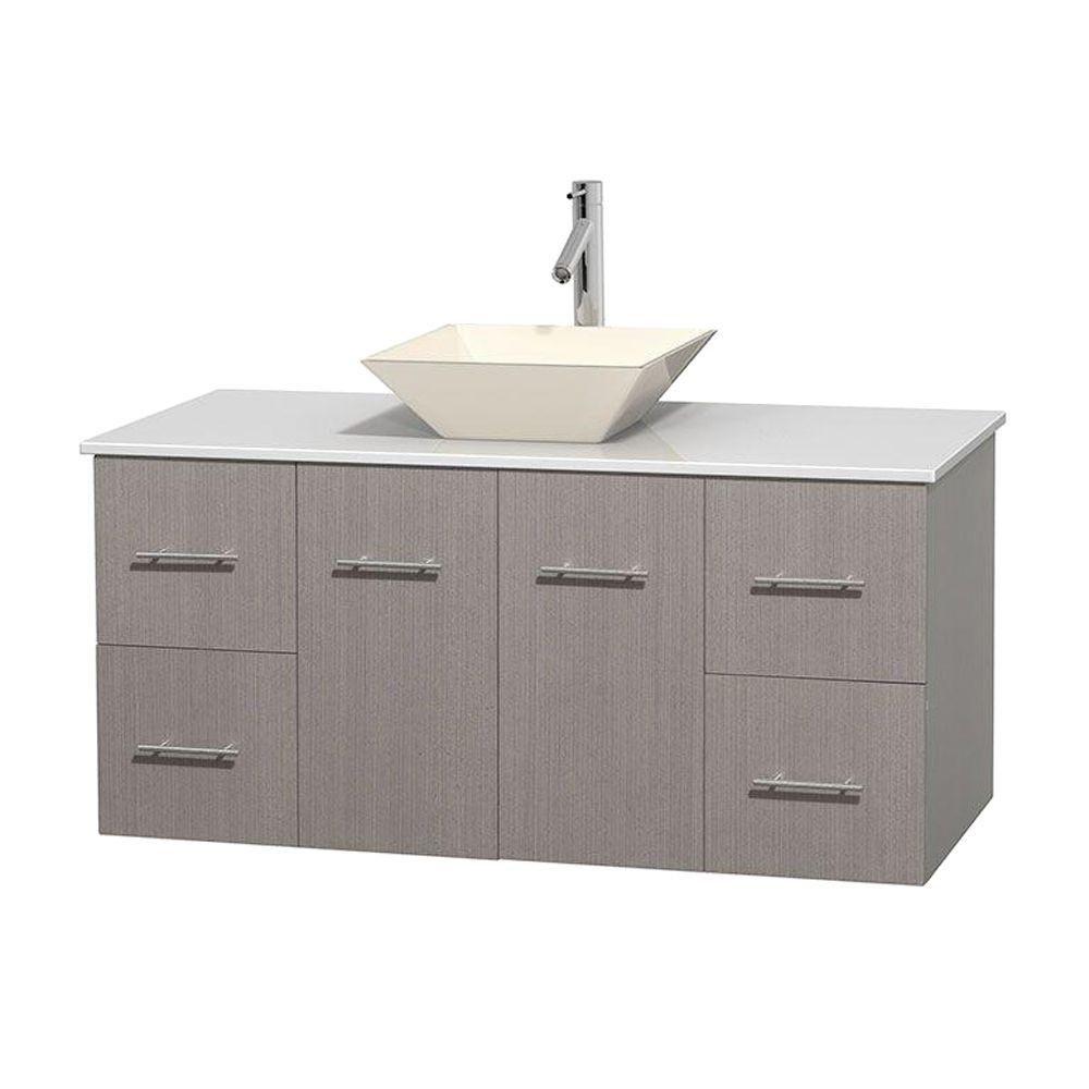 Meuble unique Centra 48 po. chêne gris, comptoir solide, lavabo porcelaine bone sans miroir