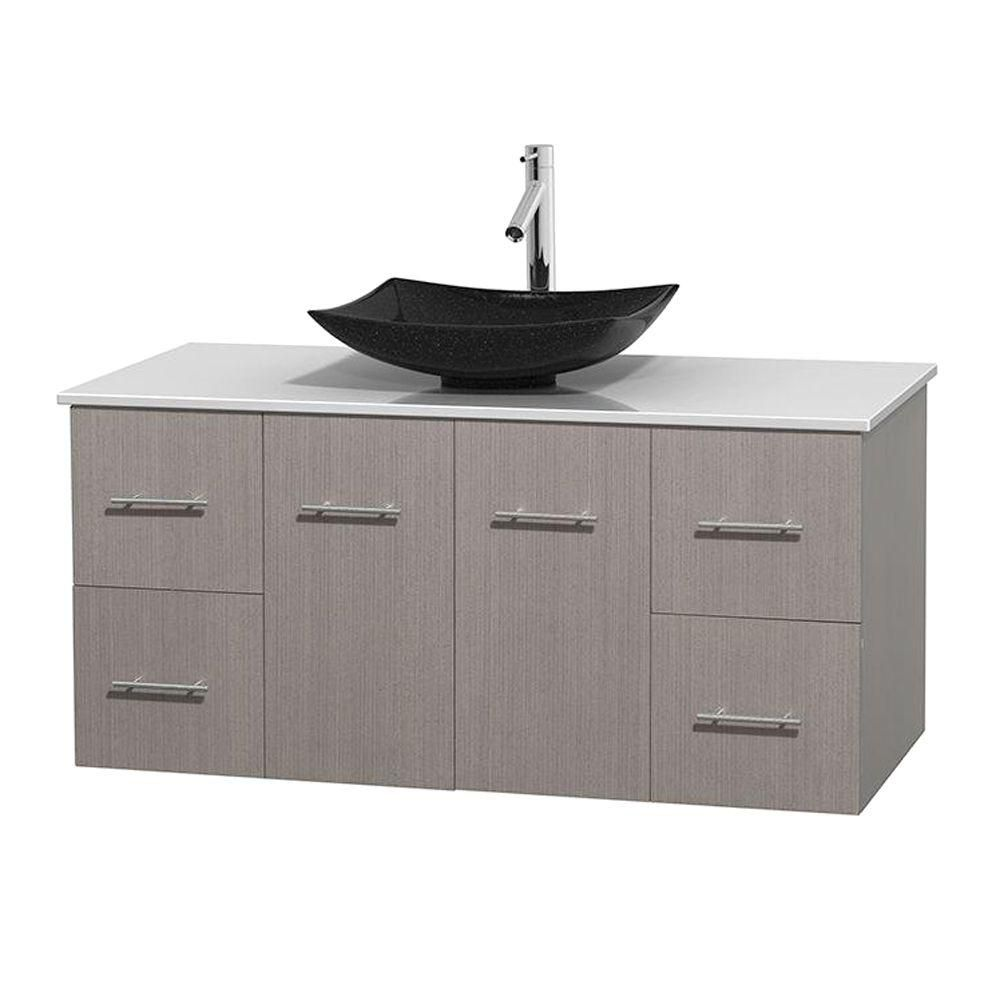Centra 48-inch W Vanity in Grey Oak with Solid Top with Black Basin