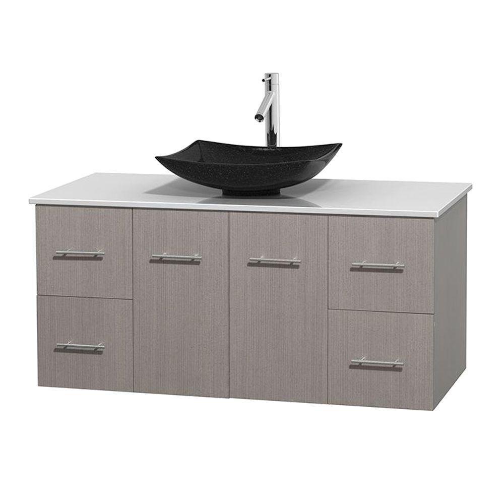 Meuble simple Centra 48 po. chêne gris, comptoir solide, lavabo granit noir, sans miroir