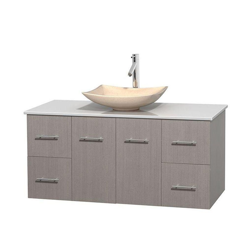 Centra 48-inch W Vanity in Grey Oak with Solid Top with Ivory Basin
