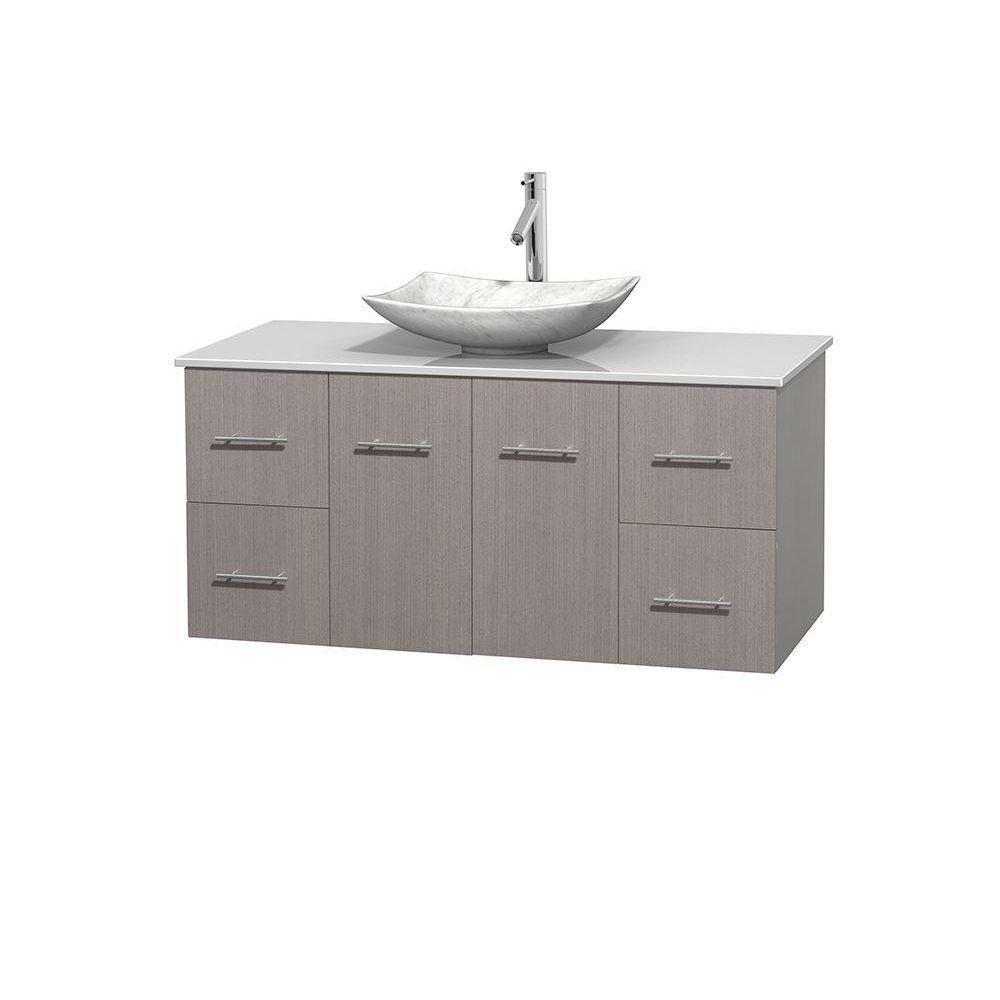 Meuble simple Centra 48 po. chêne gris, comptoir solide, lavabo blanc Carrare, sans miroir