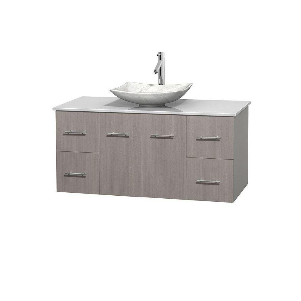 Centra 48-inch W Vanity in Grey Oak with Solid Top with White Basin
