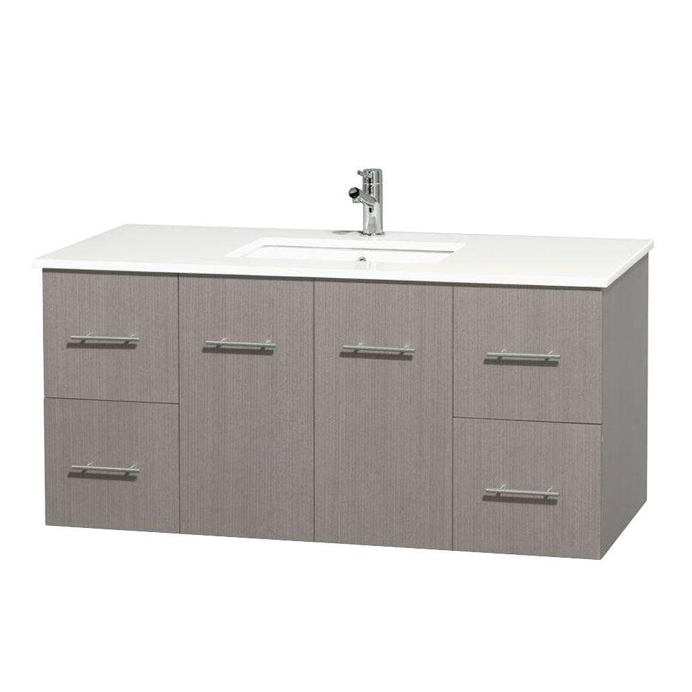 Meuble unique Centra 48 po. chêne gris, comptoir solide, lavabo carré sans miroir