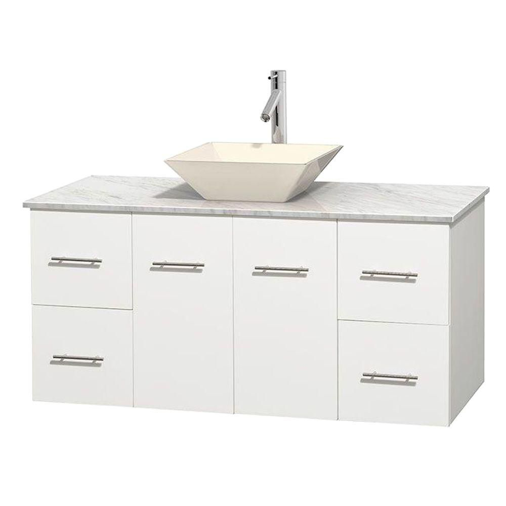 Centra 48-inch W Vanity in White with White Top with Bone Basin