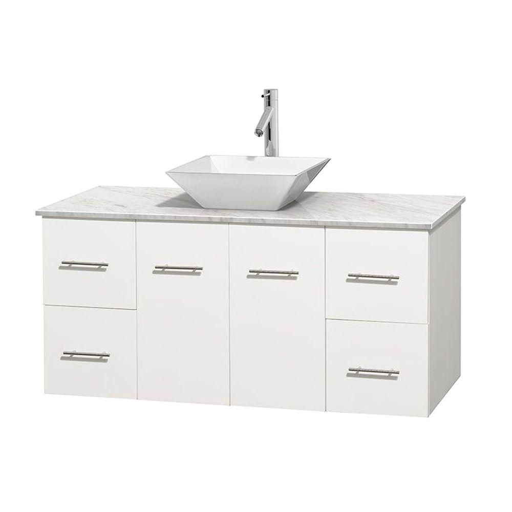Centra 48-inch W Vanity in White with White Top with White Basin