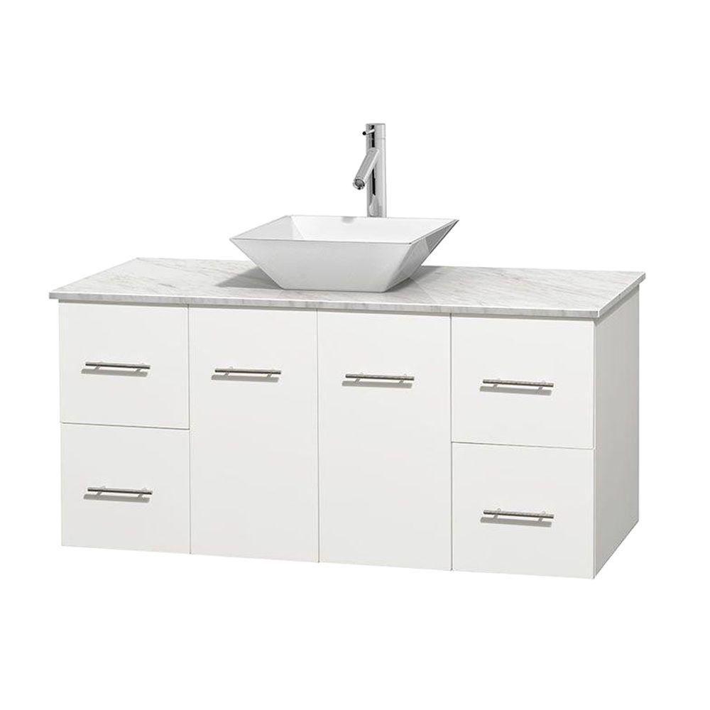 Meuble unique Centra 48 po. blanc, comptoir blanc Carrare, lavabo porcelaine blanche sans miroir