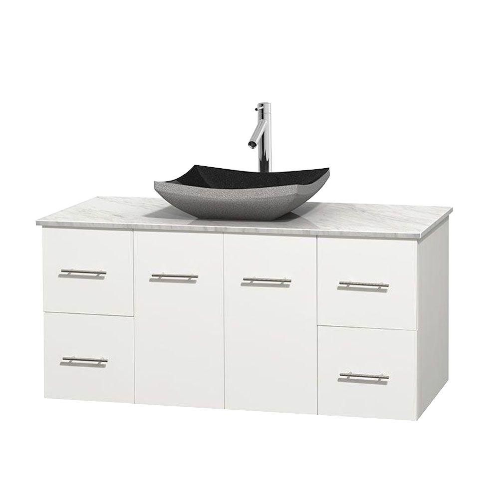 Centra 48-inch W Vanity in White with White Top with Black Basin