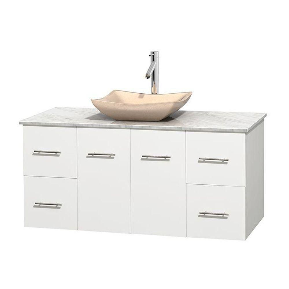 Centra 48-inch W Vanity in White with White Top with Ivory Basin
