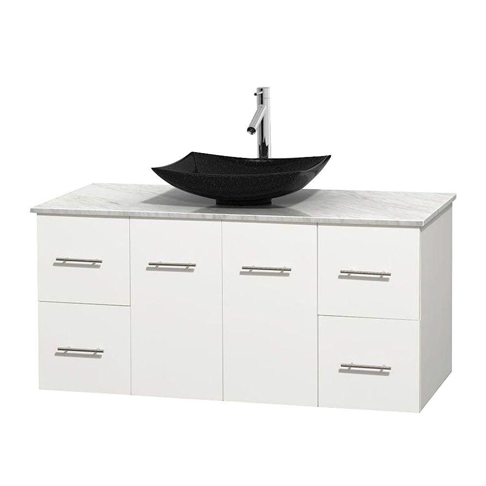 Meuble simple Centra 48 po. blanc, comptoir blanc Carrare, lavabo granit noir, sans miroir