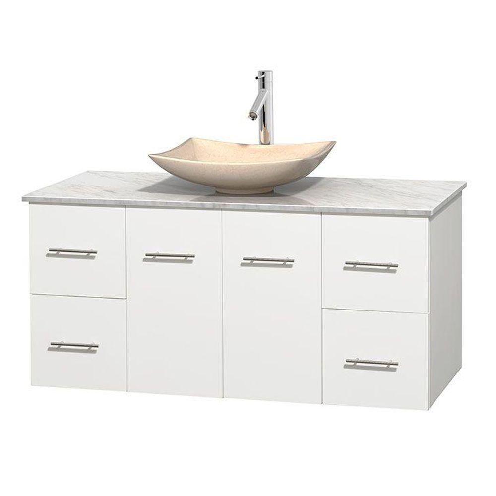 Meuble simple Centra 48 po. blanc, comptoir blanc Carrare, lavabo ivoire, sans miroir