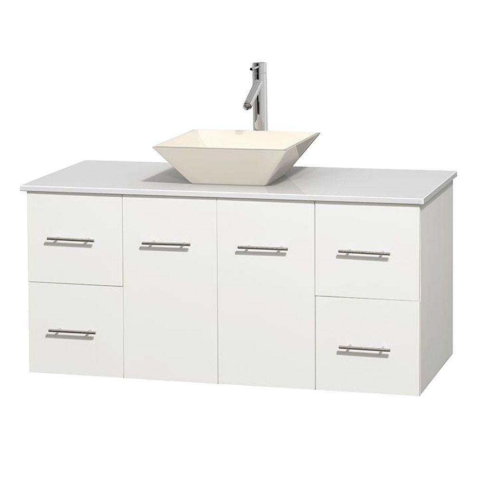 Centra 48-inch W Vanity in White with Solid Top with Bone Basin