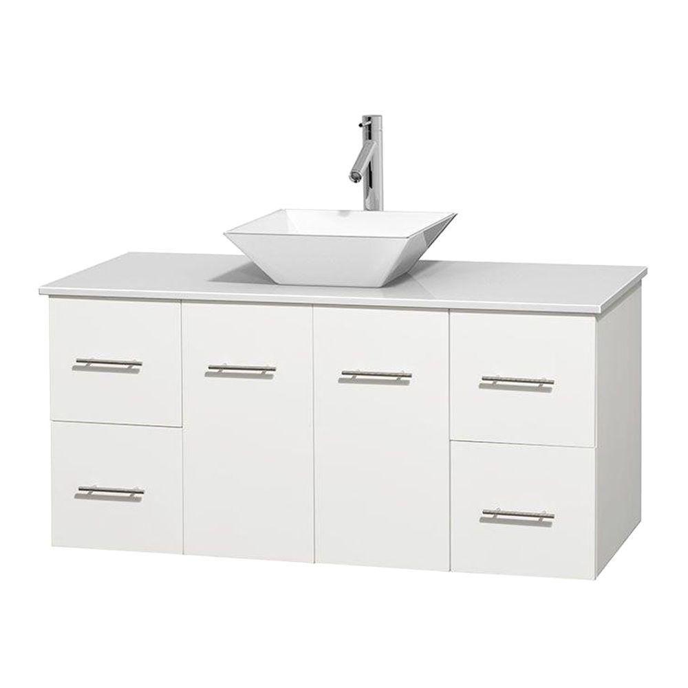 Meuble unique Centra 48 po. blanc, comptoir solide, lavabo porcelaine blanche sans miroir