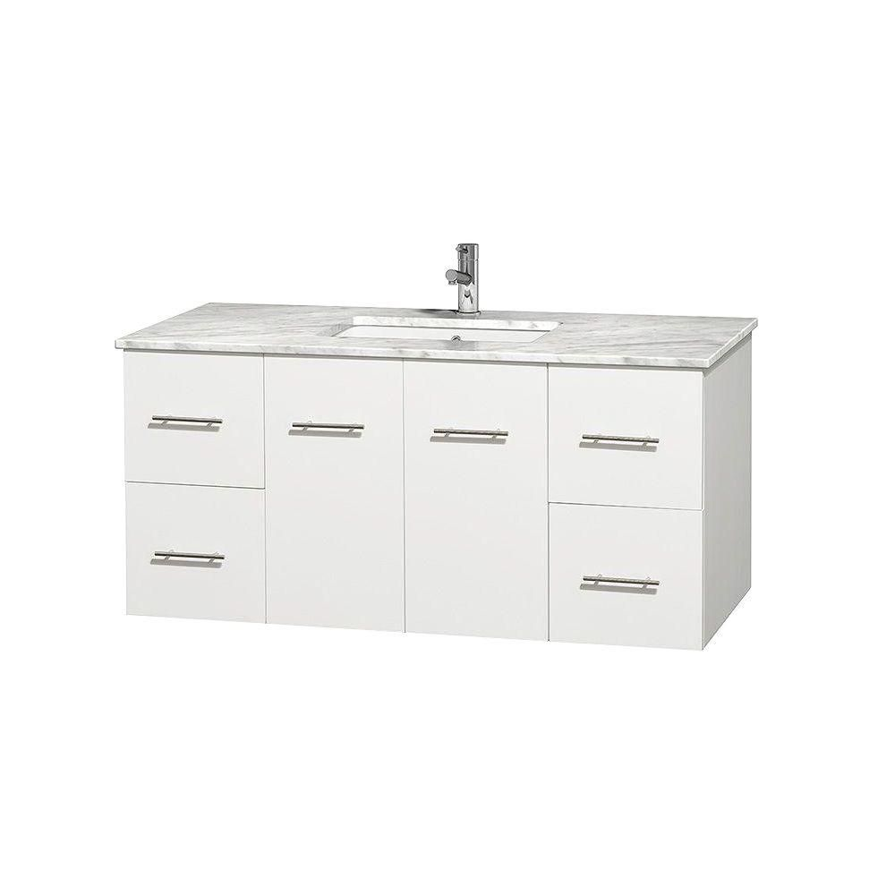 Centra 48-inch W Vanity in White with White Top with Square Basin