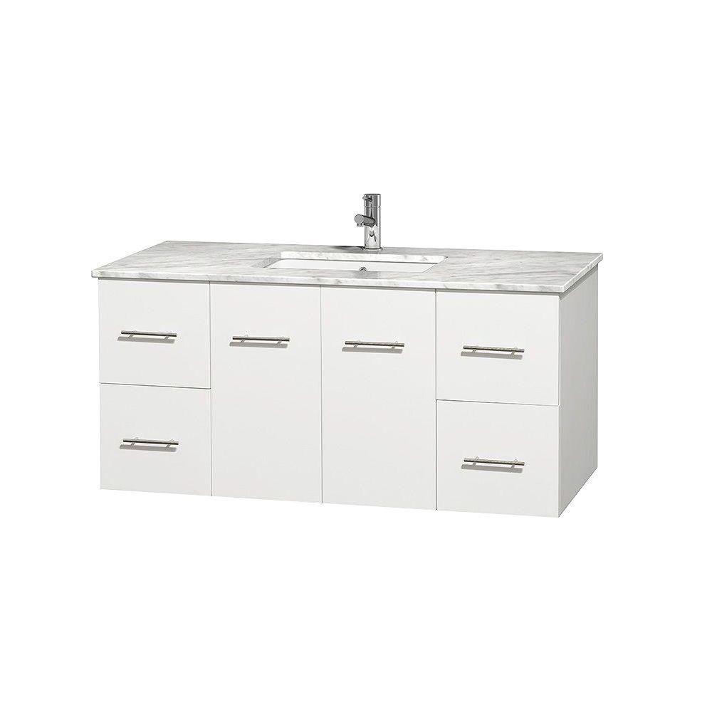 Meuble unique Centra 48 po. blanc, comptoir blanc Carrare, lavabo carré sans miroir