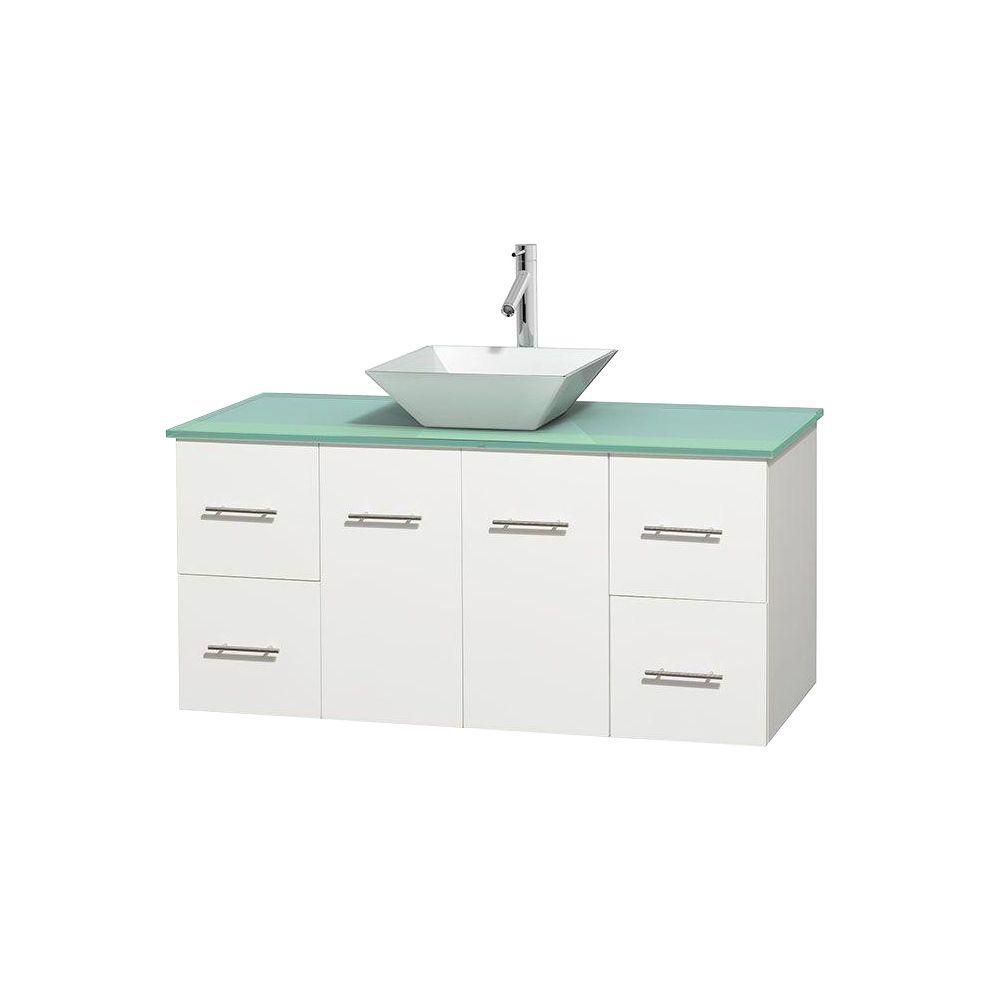 Meuble unique Centra 48 po. blanc, comptoir verre vert, lavabo porcelaine blanche sans miroir