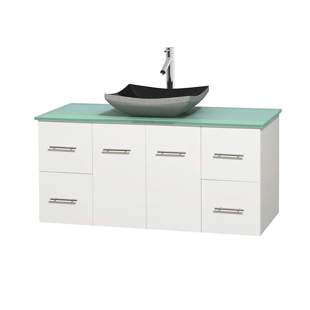 Meuble simple Centra 48 po. blanc, comptoir verre vert, lavabo granit noir, sans miroir