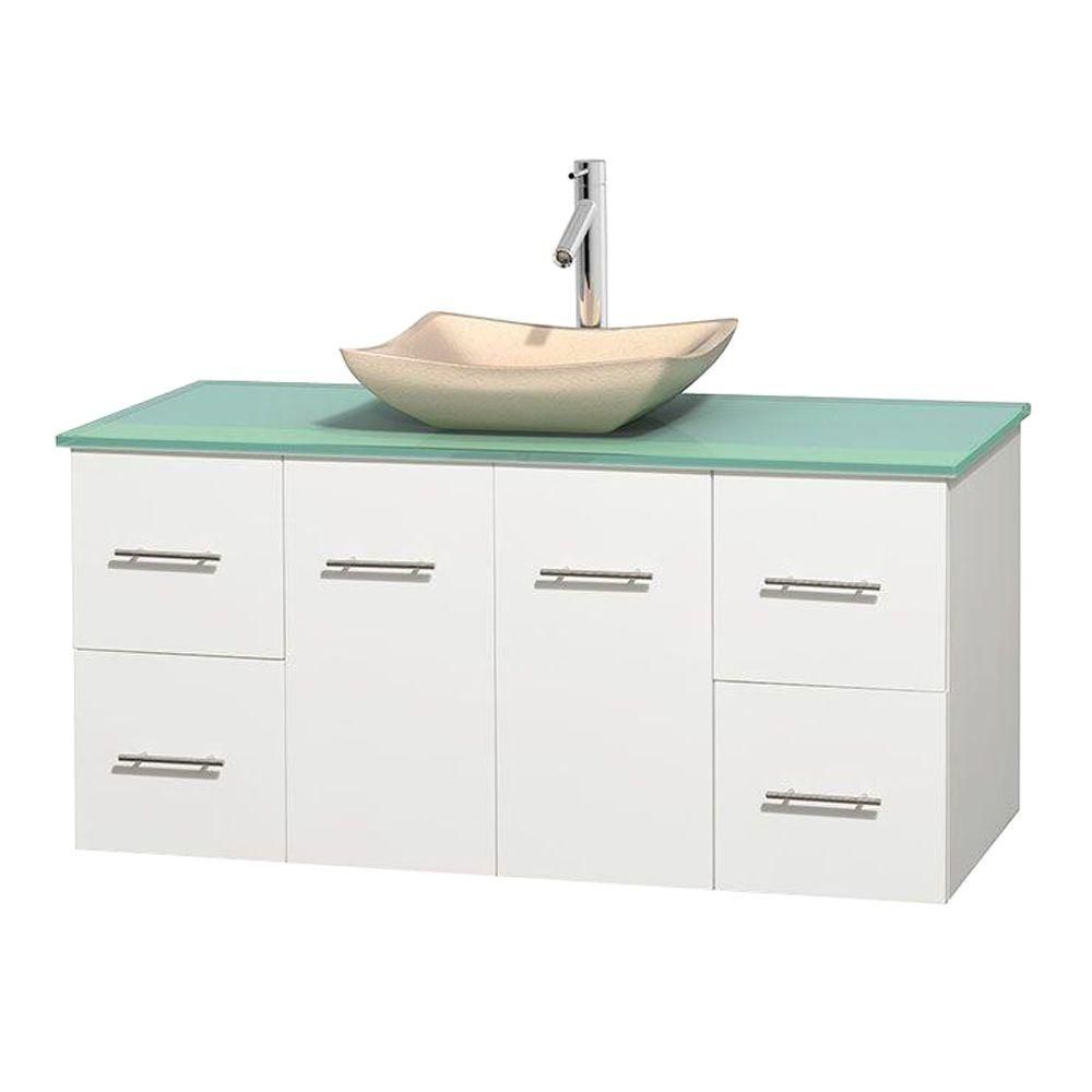 Centra 48-inch W Vanity in White with Glass Top with Ivory Basin