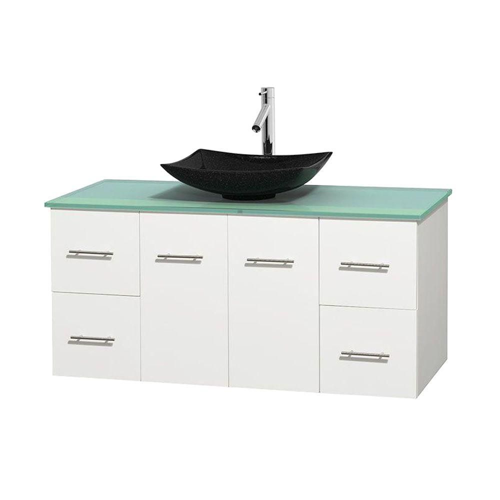 Centra 48-inch W Vanity in White with Glass Top with Black Basin