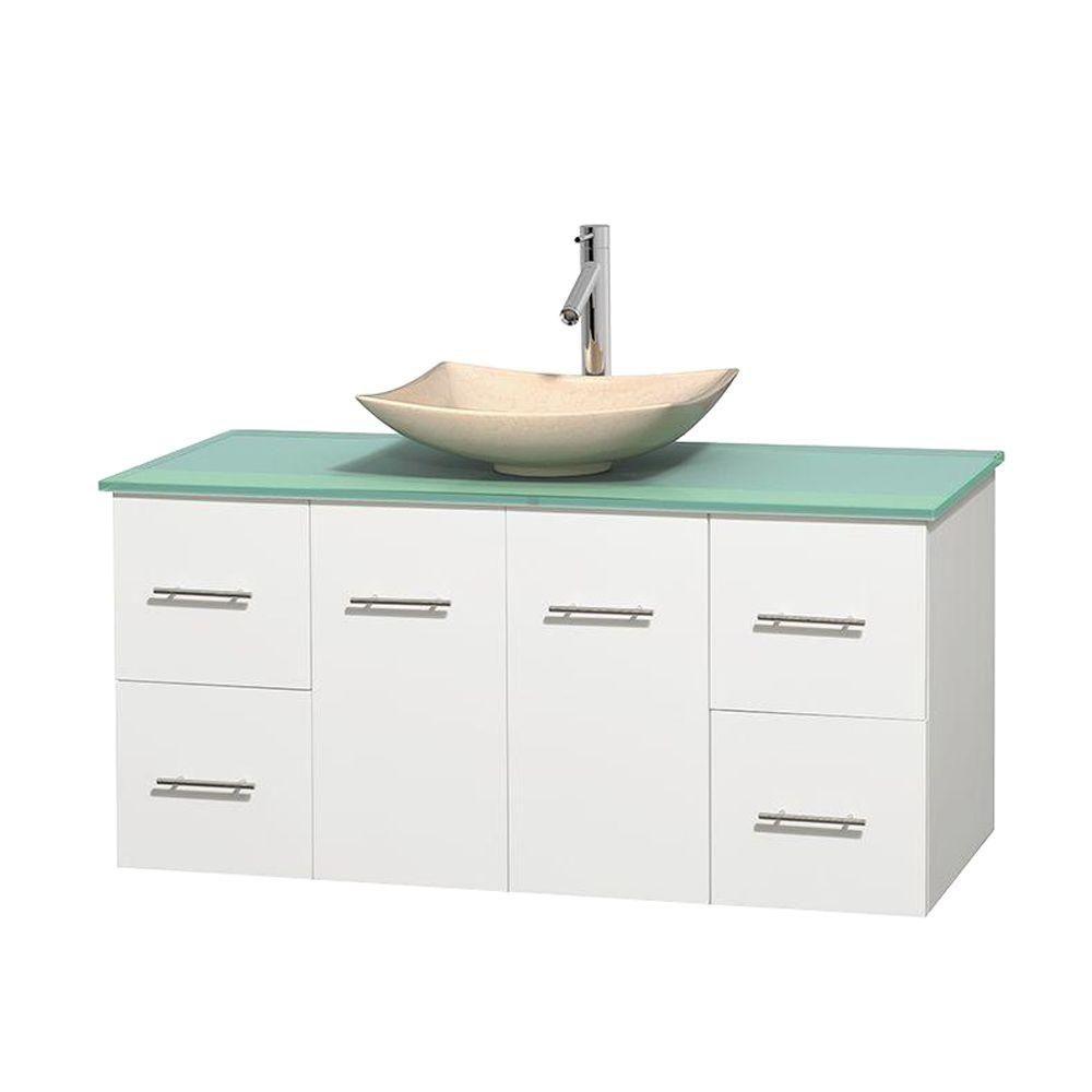 Meuble simple Centra 48 po. blanc, comptoir verre vert, lavabo ivoire, sans miroir