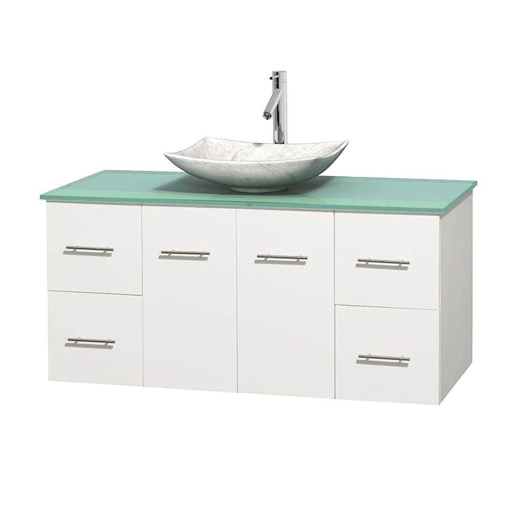 Centra 48-inch W Vanity in White with Glass Top with White Basin