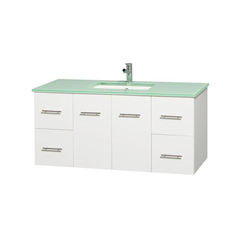 Centra 48-inch W Vanity in White with Glass Top with Square Basin