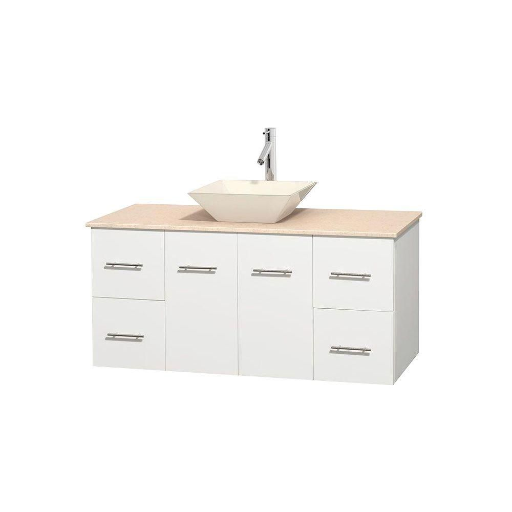 Centra 48-inch W Vanity in White with Marble Top in Ivory with Bone Basin