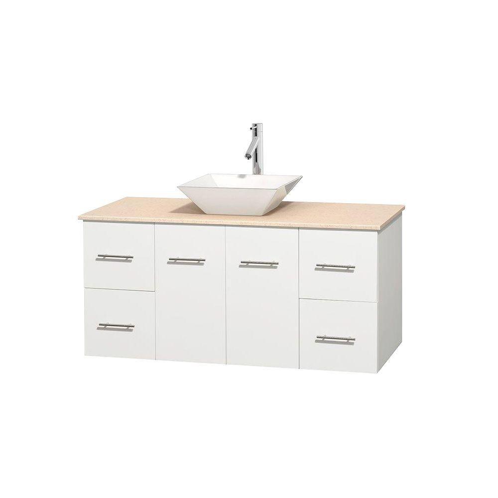 Meuble unique Centra 48 po. blanc, comptoir marbre ivoire, lavabo porcelaine blanche sans miroir