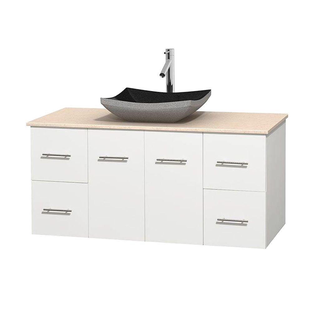 Meuble simple Centra 48 po. blanc, comptoir marbre ivoire, lavabo granit noir, sans miroir