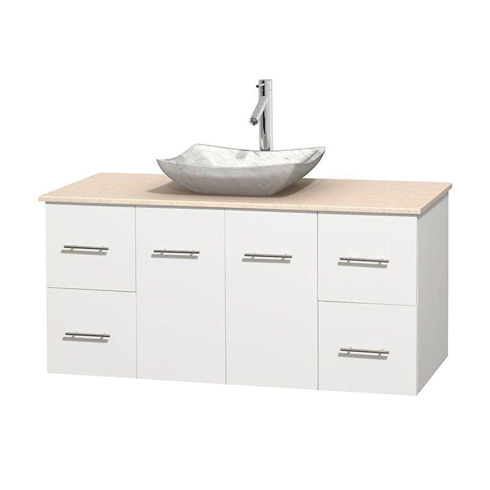 Meuble simple Centra 48 po. blanc, comptoir marbre ivoire, lavabo blanc Carrare, sans miroir