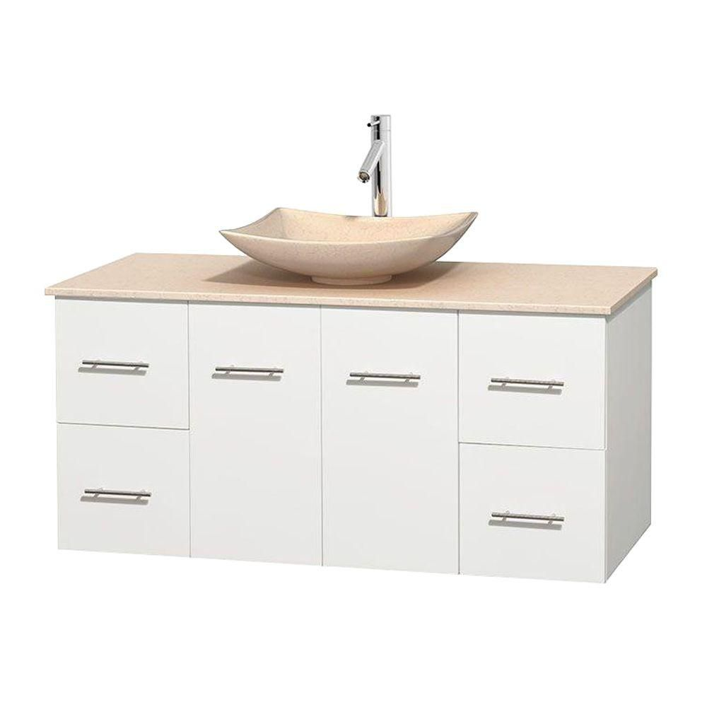 Centra 48-inch W Vanity in White with Marble Top in Ivory with Ivory Basin