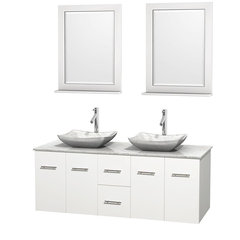 Meuble double Centra 60 po. blanc, comptoir blanc Carrare, lavabos blanc Carrare, miroirs 24 po.
